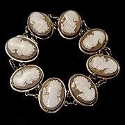 "1930's Italian Shell Cameo 7/8"" Panel Bracelet 800 Silver"