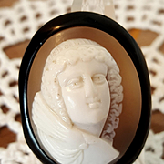 Mid Victorian Goddess Psyche Shell Cameo Whitby Jet Brooch