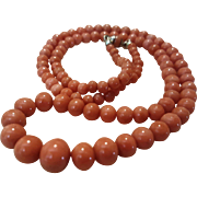 """Simply Beautiful 21"""" Edwardian 10K Salmon Coral 3.5- 9.3mm Bead Necklace"""