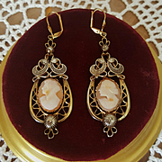 Grand 12K GF Shell Cameo Chandelier Drop Earrings 2-7/8""