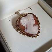 Sweet Heart Shell Cameo Brooch Pendant 12K Gold Fill