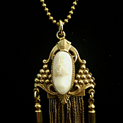 Graceful Victorian Shell Cameo Rolled Gold Foxtail Tassel Pendant Necklace