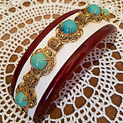 Classic Chinese Export Turquoise Cabochon Gilt Silver Filigree Bracelet