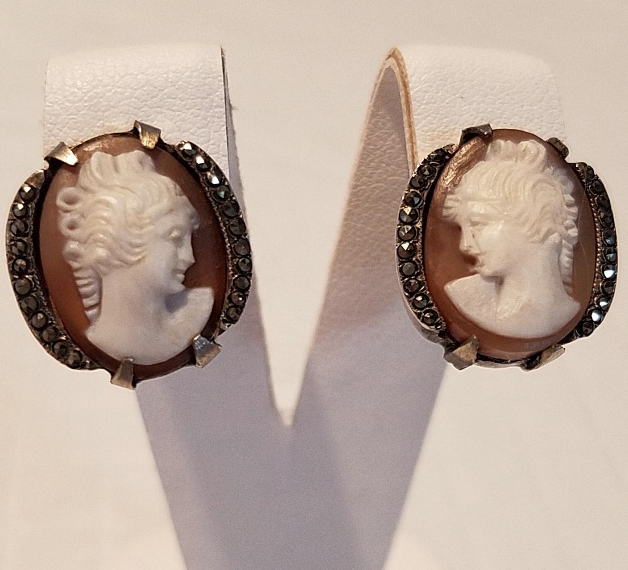 Beautiful 800 Silver & Marcasite Shell Cameo Earrings