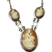 800 Silver Triple Shell Cameo Lavaliere Necklace