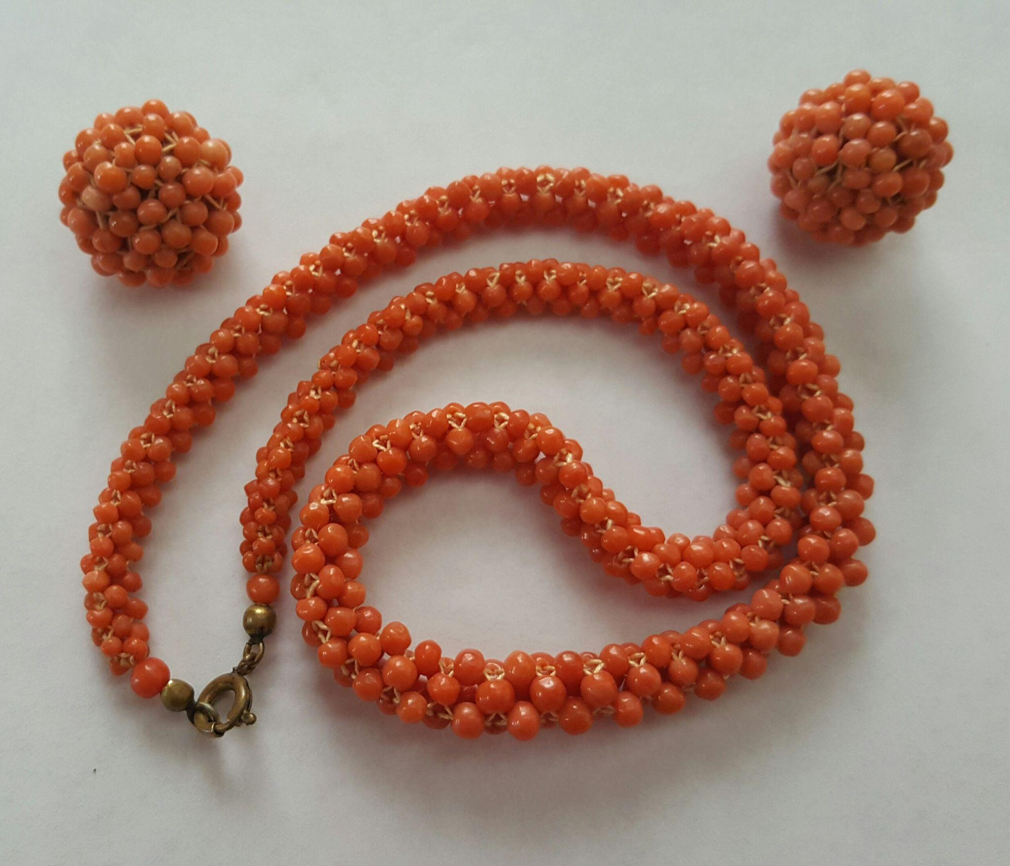 "1930's 16"" Woven Coral Bead Necklace & 20mm Earring Suite"