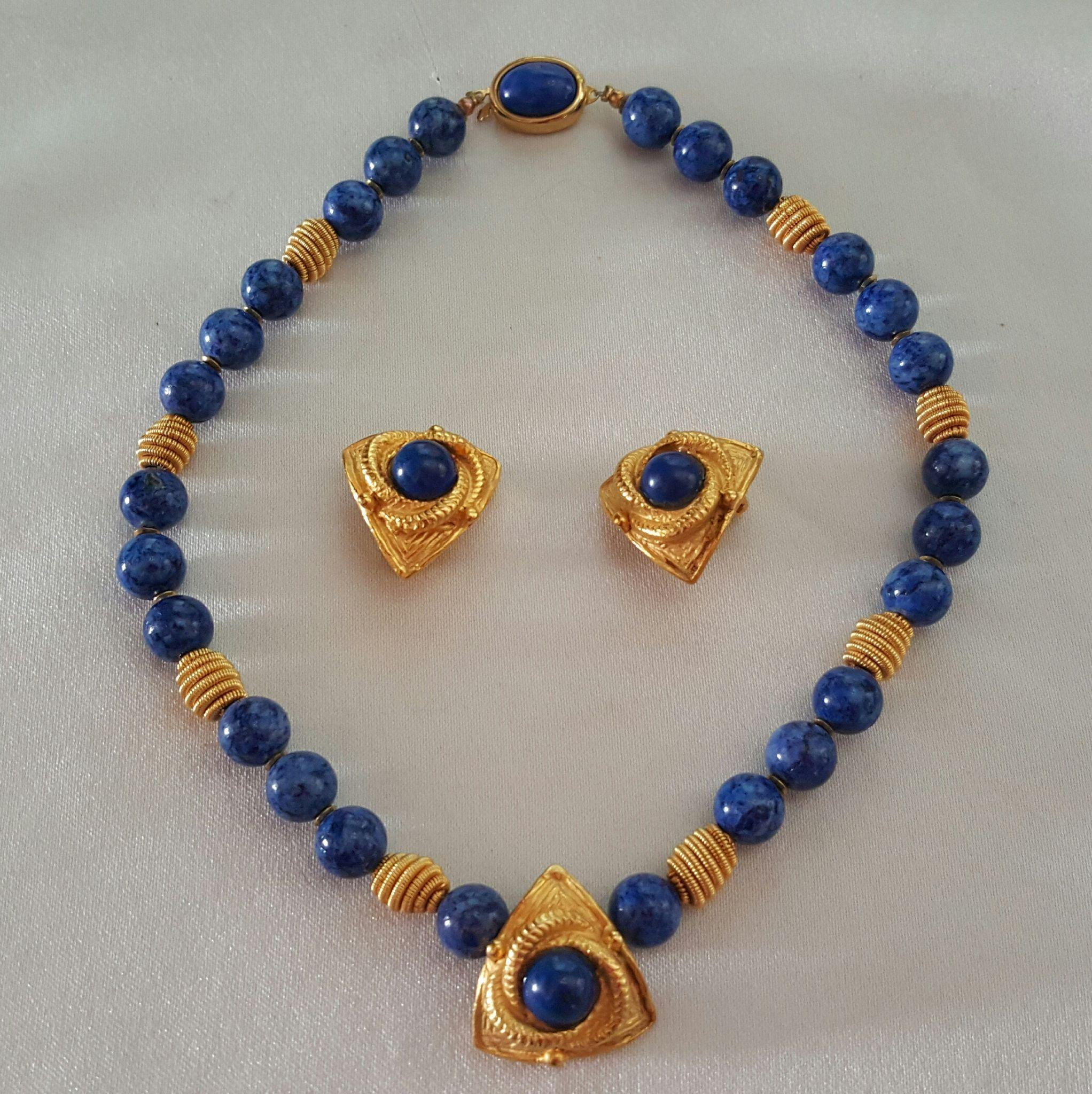 Large Bead Lapis Blue Stone Necklace & Matching Clip Earrings 22K Gold Tone