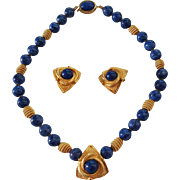 "Wow! 16"" Faux Lapis Stone 10.3mm Bead Necklace & 1"" Earrings 22K Gold Tone"