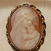 Bal-Ron 12K GF Madonna & Child Shell Cameo Brooch Pendant