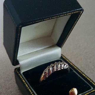 """1930's 10K Yellow Gold Diamond Wedding Anniversary Band  7-3/8"""""""
