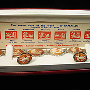 "Gorgeous 8"" Seven Days of the Week Shell Cameo Hinged Bracelet & Earrings w/ Marcasites"