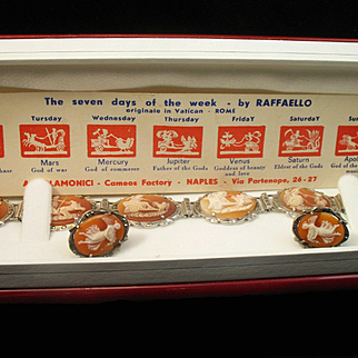 """Gorgeous 8"""" Seven Days of the Week Shell Cameo Hinged Bracelet & Earrings w/ Marcasites"""