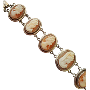 Through the Ages Edwardian Carved Shell Cameo Bracelet 900 Silver