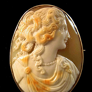 Elegant Beauty 12ct Yellow Gold Shell Cameo Brooch - 9.8 grams