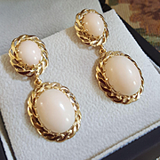 Grand 42mm 14K Gold Coral Cabochon Drop Earrings - 12.3 grams