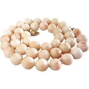 "18.5"" 14K Blush Angel Skin Coral 10.2mm Bead Necklace - 61.8 grams"