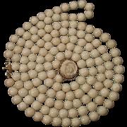 "Vintage Splendor 14K Double Strand White Angel Skin Coral 8.4-8.8mm Bead Necklace 29"""