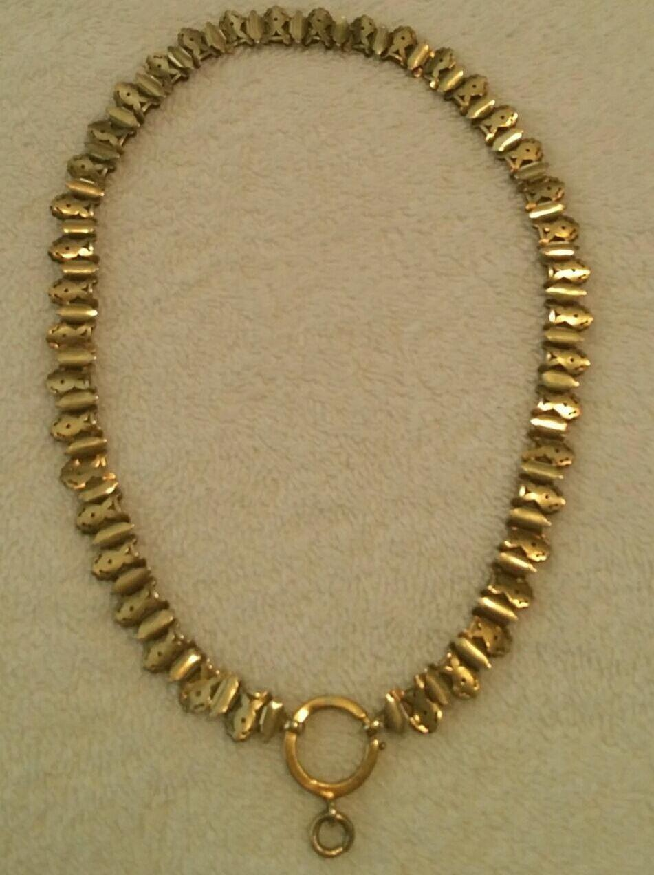 Antique Victorian Rolled Gold Pierced Link Collar Necklace