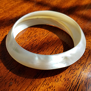 Pristine Mid Century Hand Carved Mother of Pearl Bangle Bracelet