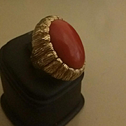 Vintage Ruser 18K Precious Quality Oxblood Red Coral Cabochon Ring  25 grams