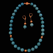 Most Beautiful 14K Gold Persian Turquoise Bead Necklace 18K Earring Suite 70.8 grams