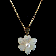 Vintage 14K Cultured Pearl and Mother of Pearl Flower Enhancer Pendant