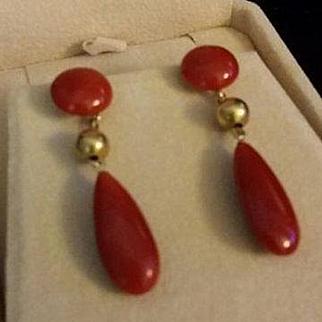Classic Italian 18K Oxblood Red Coral Drop Earrings