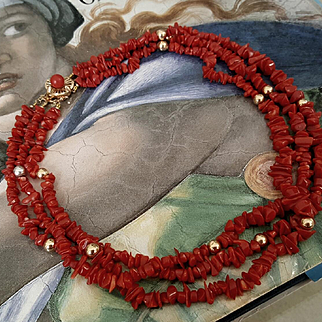 1950's Chic 14K Oxblood Red Coral & Gold Bead 3 Strand Torsade Necklace