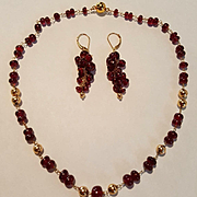 Elegant 18K Garnet & Gold Bead Link Necklace and 18K Garnet Grapes Earrings