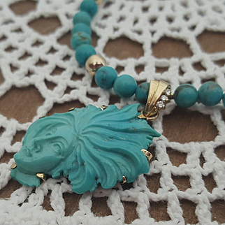 18K Turquoise Beads w/ 18K Carved Turquoise Cameo & Diamond Pendant Necklace