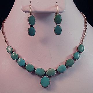 Elegant 18K Turquoise Cabochon Lavaliere Necklace & Earrings Suite