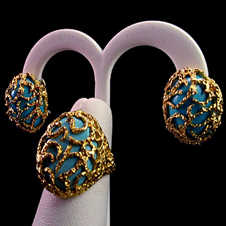 Divine Italian 18K Gold Turquoise Bird Cage Ring & Earring Suite - 32.7 grams