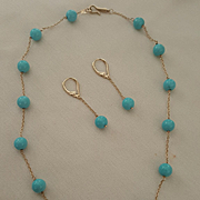 18K Turquoise Bead Station Link Necklace & 18K Bead Link Earrings Set