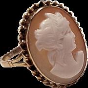 18K Goddess Hera (Juno) Sardonyx Shell Cameo Ring -Size 9
