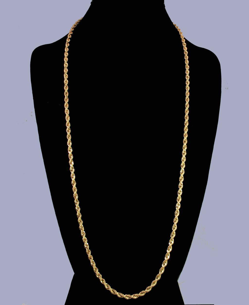 "30.5"" Classic 14K Yellow Gold 4mm Solid Rope Chain - 35.1 grams"