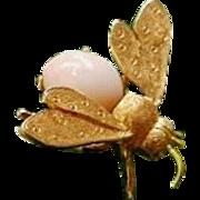 Vintage Italian 18K Yellow Gold Coral Fly Bug Brooch Pin -7.8 grams