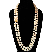 """Grand 29"""" 14K Two Strand Blush Angel Skin Coral Bead Necklace Rose Clasp - 252 grams"""