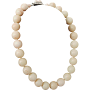 1950's Large Bead Angel Skin Coral 14-15.3mm Necklace - 117.6 grams