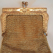 Elegant W German Chain Maille Gold Plate Coin Finger Purse w/ Original Lining