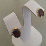 14K Oval Faceted 3.0ct Garnet Earrings - Pierced Posts FAST & FREE shipping