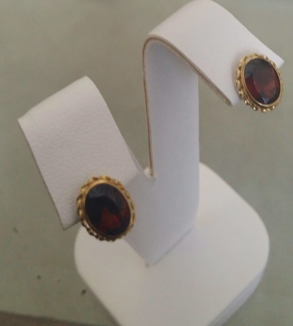 14K Oval Faceted 3.0ct Garnet Earrings - Pierced Posts FAST & FREE shipping
