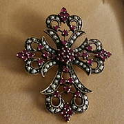 "Antique 1-3/4"" 9K Art Nouveau Garnet & Seed Pearl Cross Brooch 9.5 grams"