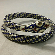 ULTIMATE Egyptian Revival Enamel & 900 Silver Snake Serpent Coil Bracelet