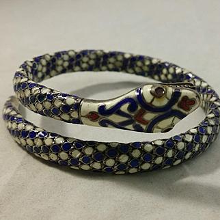 Egyptian Revival Enamel & 900 Silver Enamel Snake Serpent Coil Bracelet