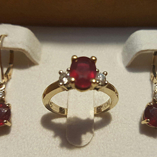 18K WG & YG Ruby & Diamond Ring & 18K/14K Drop Earrings