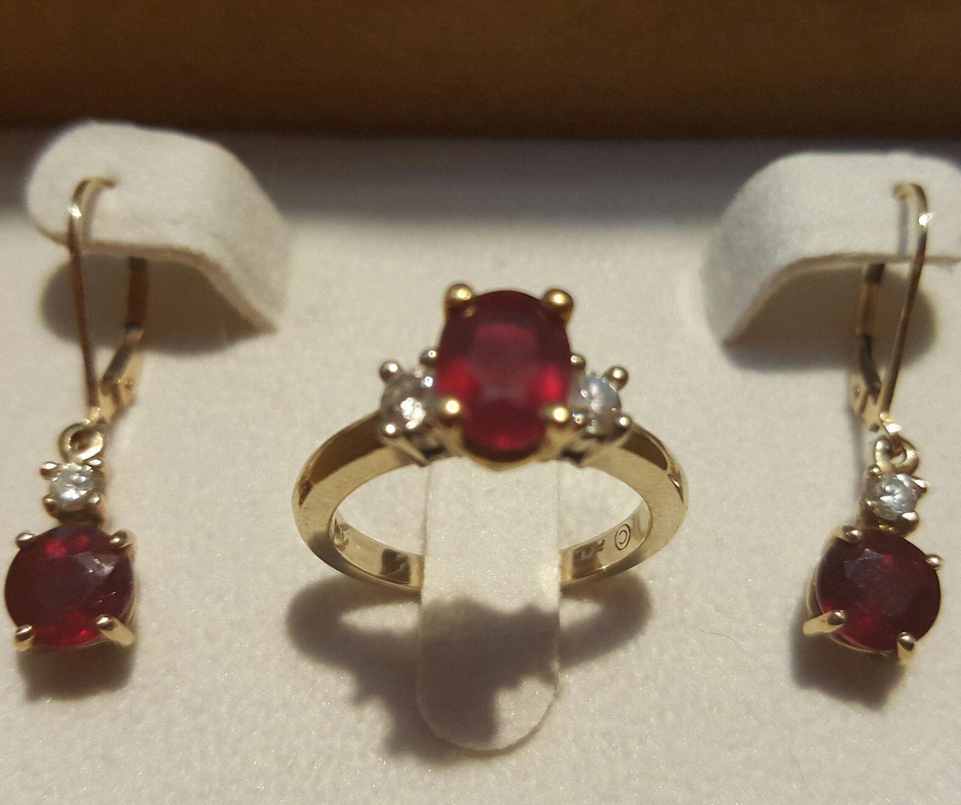18K WG & YG Ruby & Diamond Ring & 18K/14K Drop Earrings