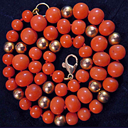 Sweet Vintage 14K Salmon Coral 6-8mm Bead Necklace