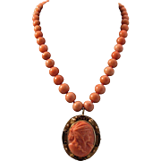 Gorgeous 12K Coral Bead Necklace with Coral Goddess Ceres Cameo Pendant