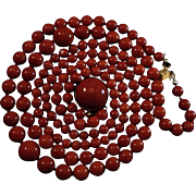 Gorgeous 18K Sardinian Red Coral Bead Double Strand Necklace Cabochon Clasp  60.8 grams