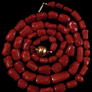 1960's 18K Natural Free Form Red Coral Bead Necklace - 54 grams